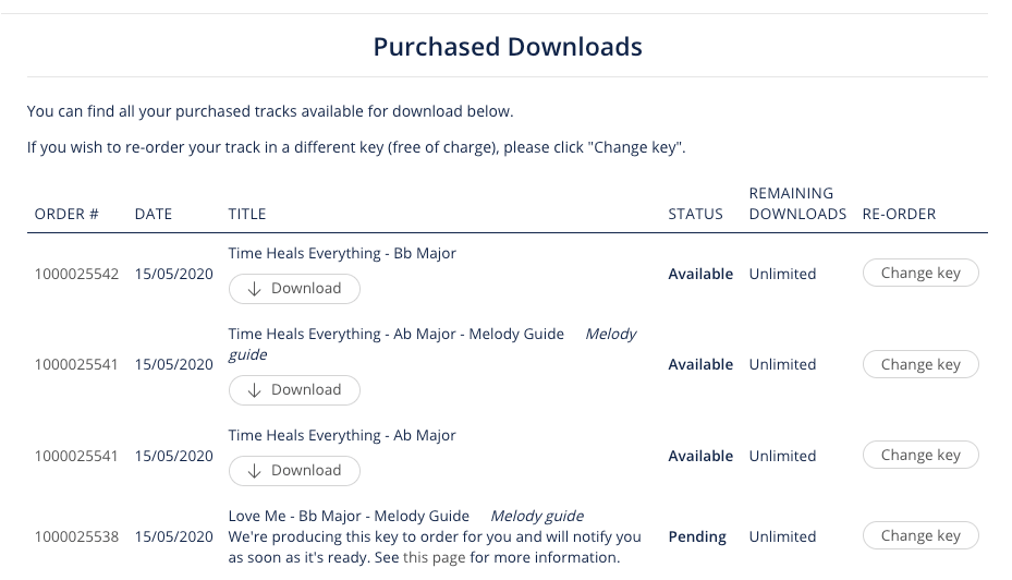 Example of Purchased Downloads and Download link