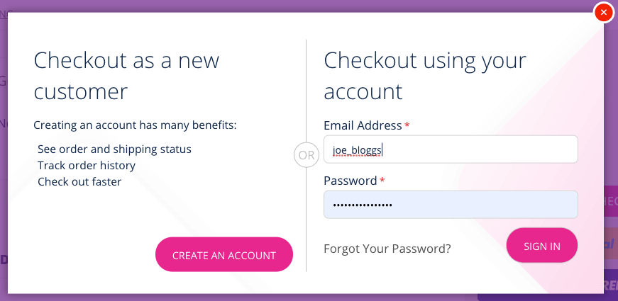 Example of Login and Register options